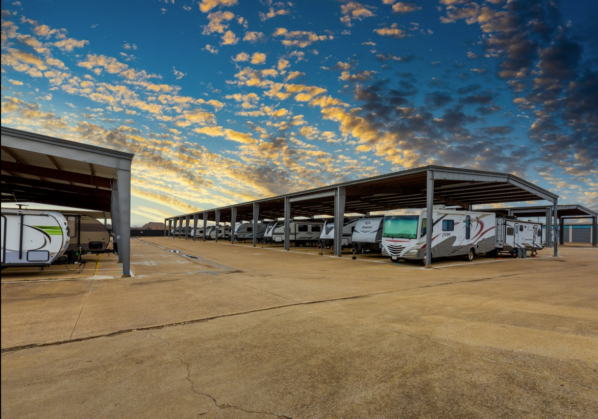New Covered RV and Boat Spaces with Electrical Charge Plugins at Wylie Bargain Storage