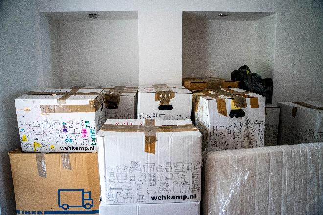 Properly packed boxes in storage