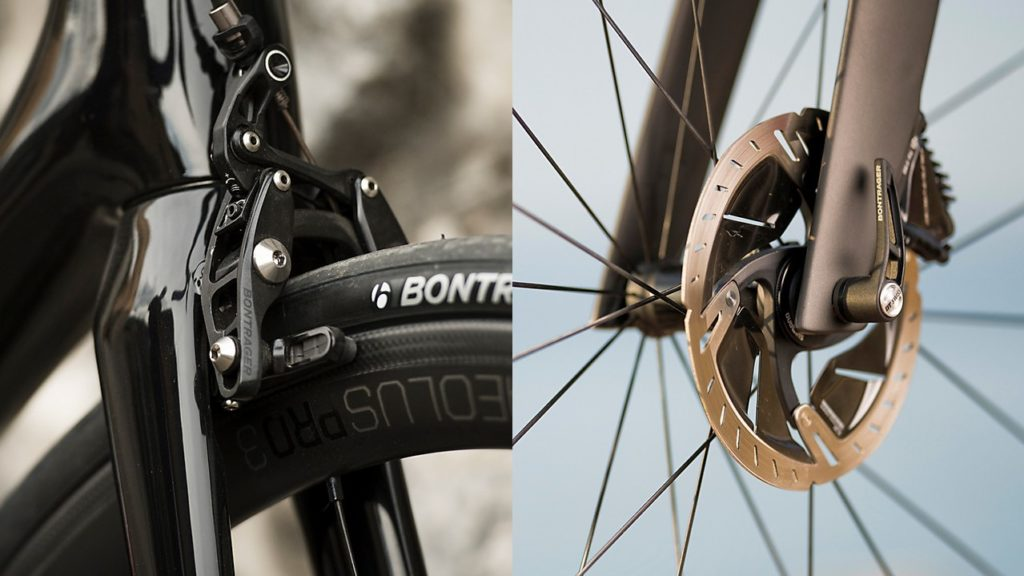 Rim brake and disc brake photos to help illustrate removing the front wheel step