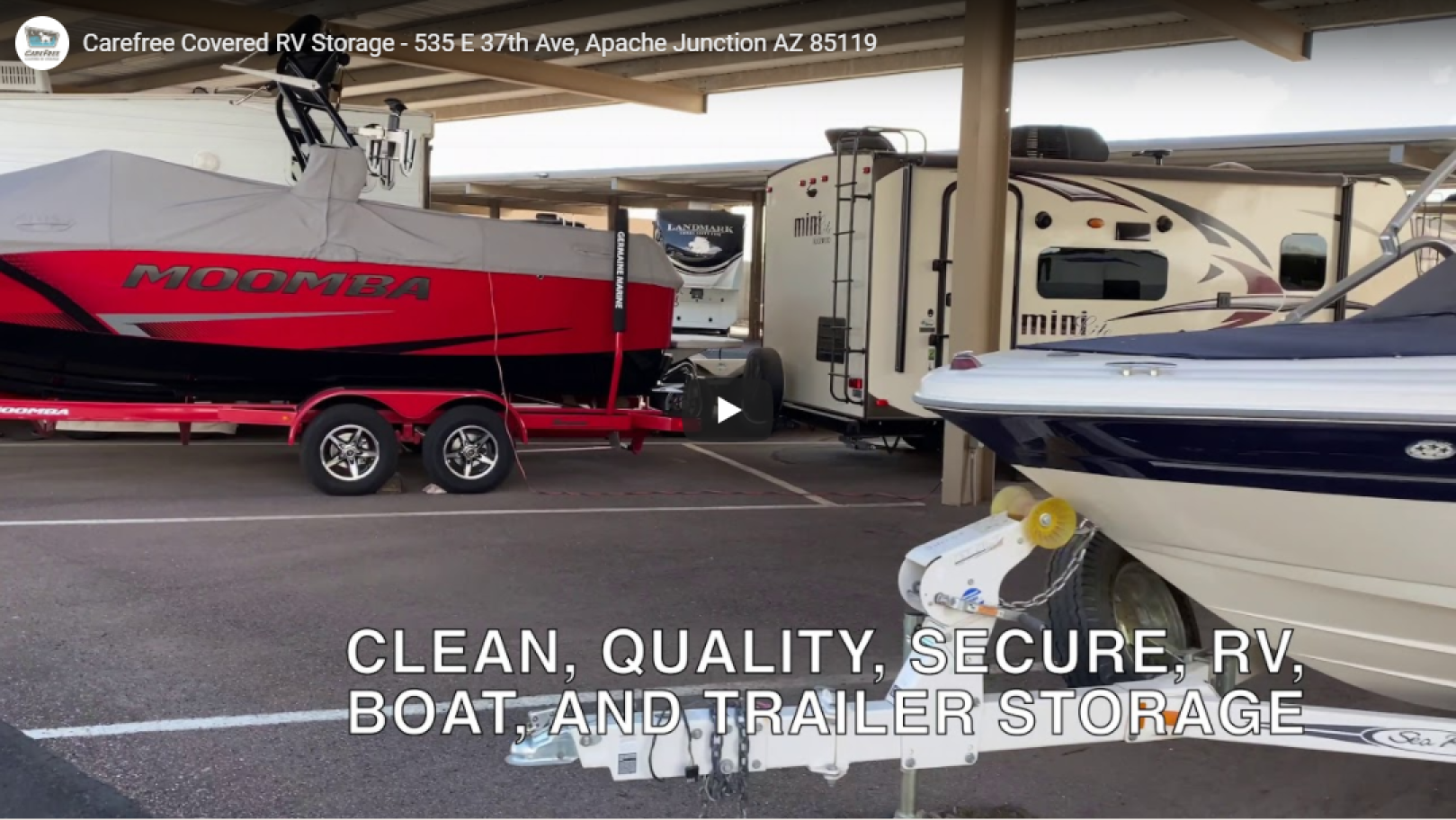 Covered RV and Boat Storage Video at Carefree in Apache Junction Arizona