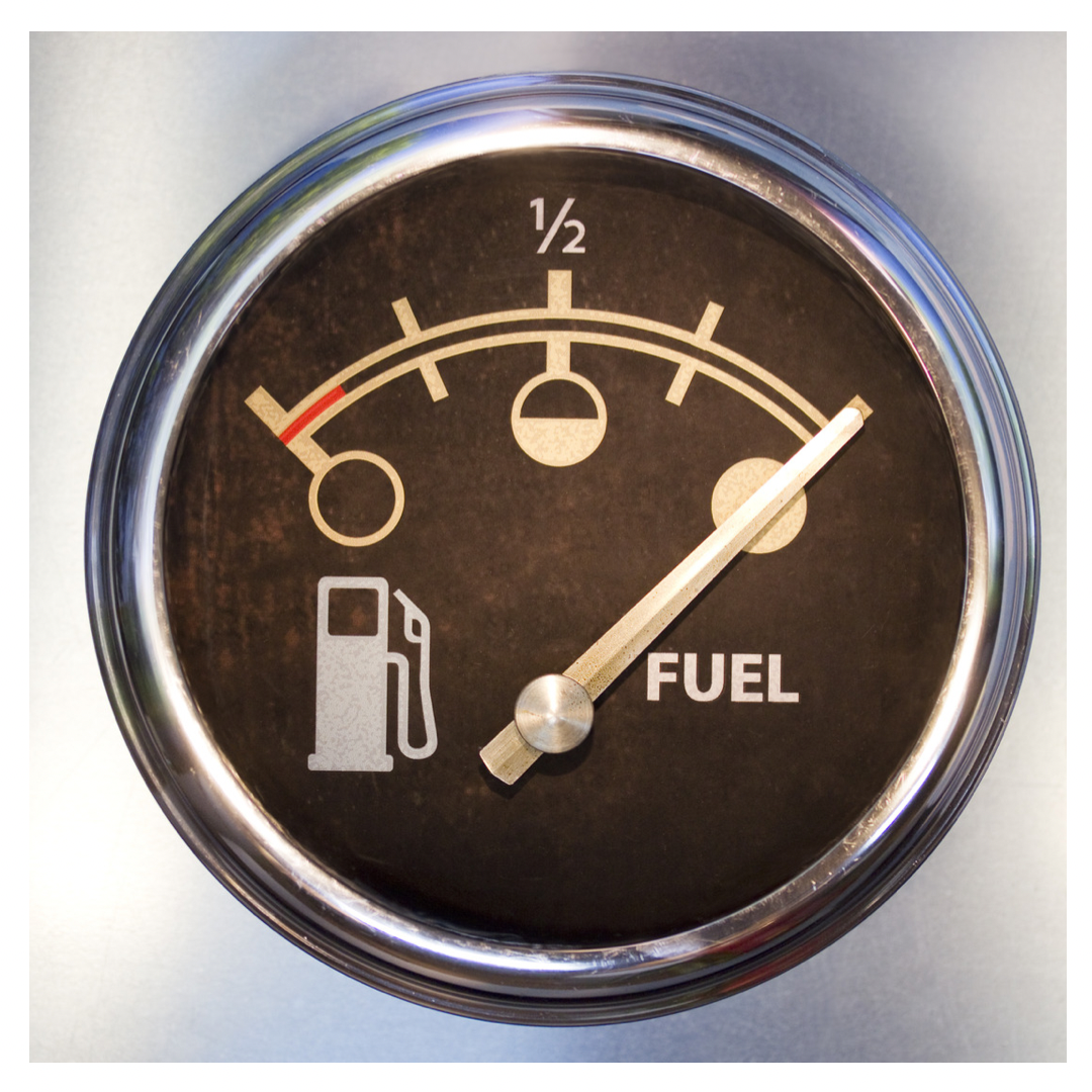 Fuel gauge showing full tank.