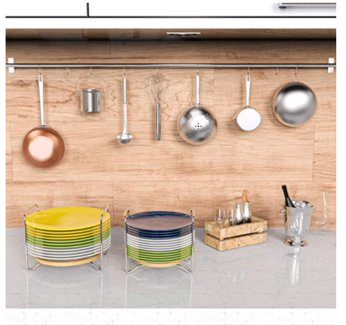 Convenient storage space saving stackable plate holder
