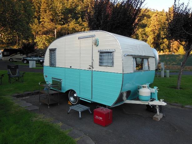 A Restored Vintage RV Travel Trailer at an RV Campground