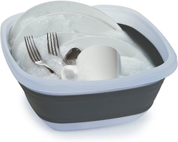 collapsible wash basin for rv storage