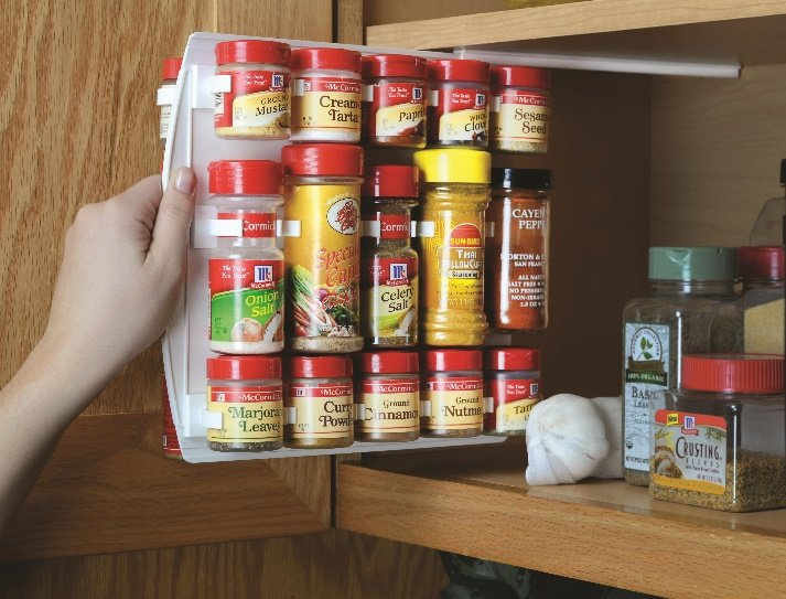 vertical spice rack maximizing storage space