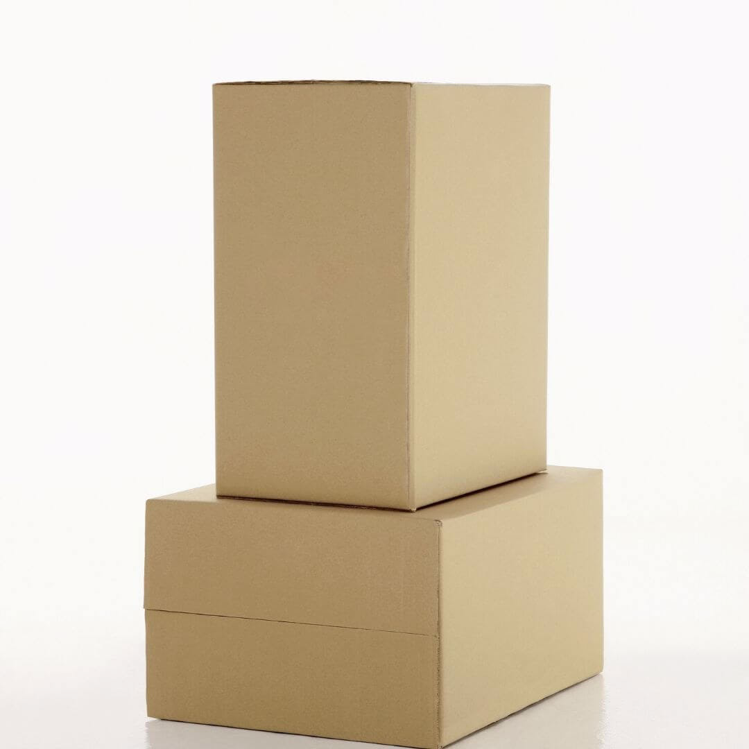 stack of packed moving boxes