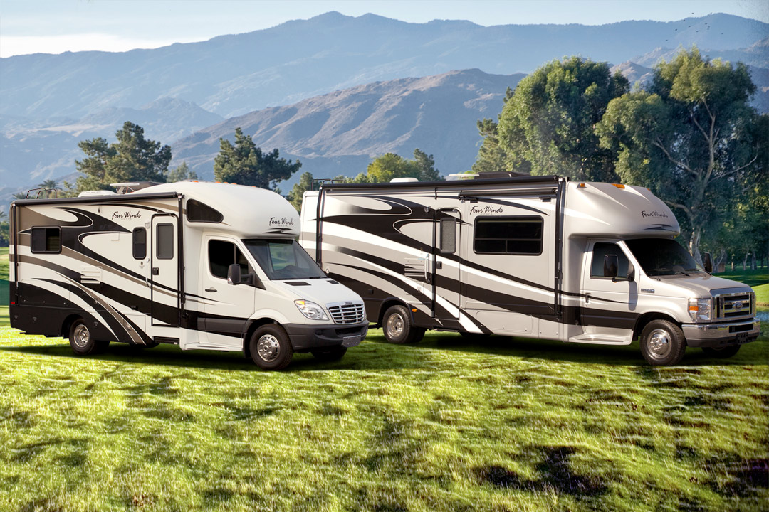 RV and motorhome parked outside