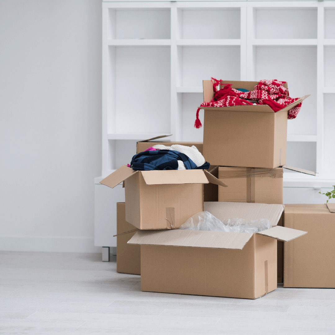 moving boxes with belongings inside