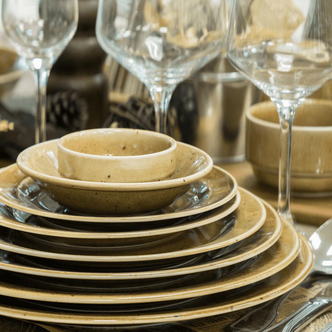 set of fragile dishware