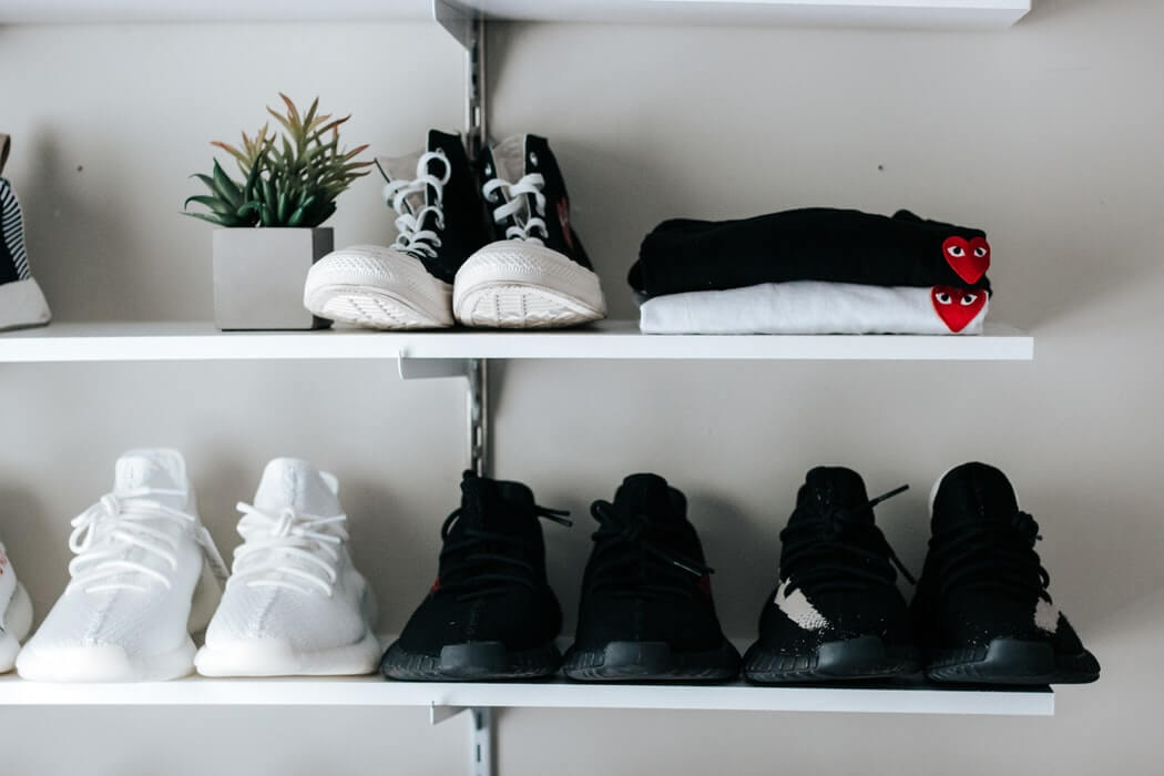 shelving with shoes and clothes