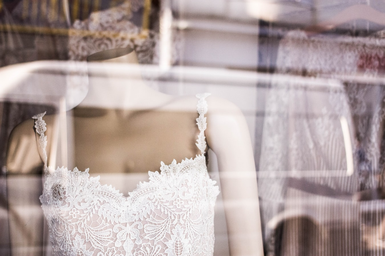 wedding dress at a boutique