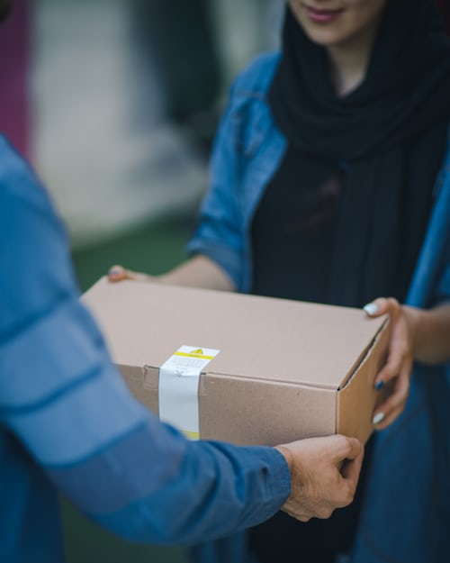 person receiving a package