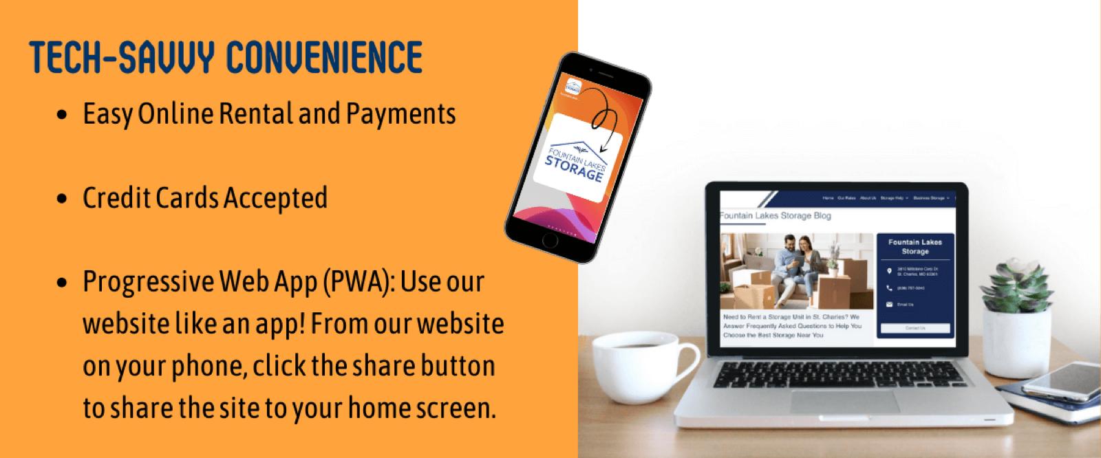 online storage unit rental online storage unit payments credit cards accepted progressive web app