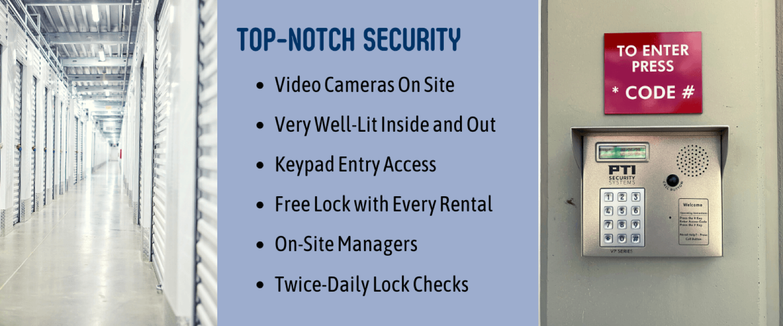 security cameras well lit secure keypad entry free disc lock on site managers daily lock checks