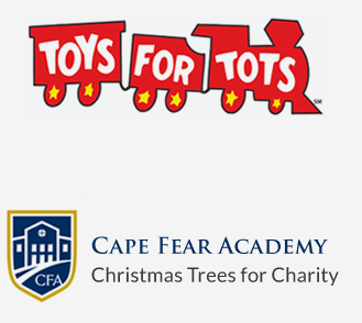 Toys for Tots and Cape Fear Academy Christmas Trees for Charity Logos